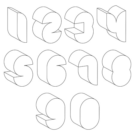 numerals: 3d black and white futuristic numbers made with lines, stylish simple shaped numerals for design. Illustration
