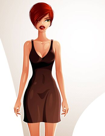 red dress: Full-length portrait of a gorgeous red-haired sexy lady wearing a summer dress, colorful drawing. Vector illustration of a stylish Caucasian lady.