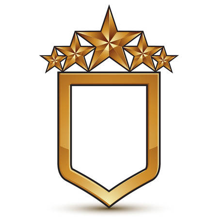 eps8: Glamorous vector template with five pentagonal golden stars, festive shield symbol, best for use in web and graphic design. Conceptual heraldic icon, clear eps8 vector.