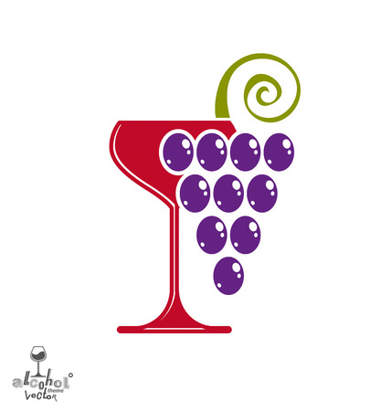 half full: Winery award theme vector illustration. Stylized half full glass of wine with grapes cluster and decorative ribbon, racemation symbol best for use in advertising and graphic design. Illustration