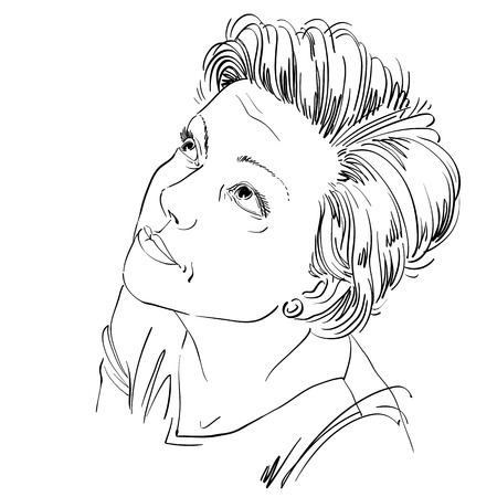 wrinkle: Monochrome vector hand-drawn image, young woman feel sorry about something. Black and white illustration of blameworthy naive girl. Illustration