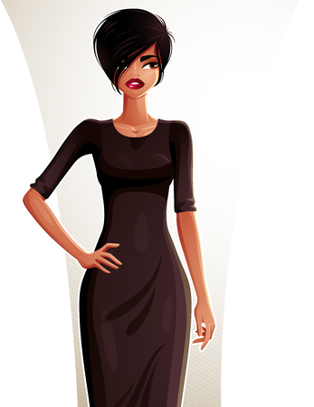 fullbody: Sexy coquette dark skin woman with her hand on a waist, full-length portrait. Attractive lady with a stylish makeup wearing an elegant dress.