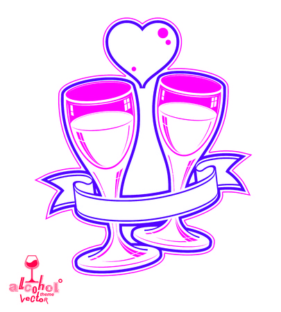 loving: Two wineglasses vector artistic illustration – wedding couple conceptual graphic object. Celebration theme – stylized goblet with loving hearts and beautiful ribbon. Illustration