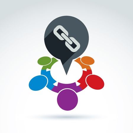 bonds: Vector colorful illustration of social bonds. Connection between group of people - international team, link sign.  Speech bubble icon.