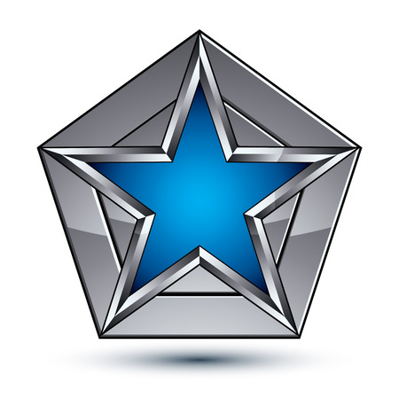 the silvery: Silvery blazon with pentagonal blue star, can be used in web and graphic design, clear EPS 8 vector. Heraldic silver symbol, 3d coat of arms.