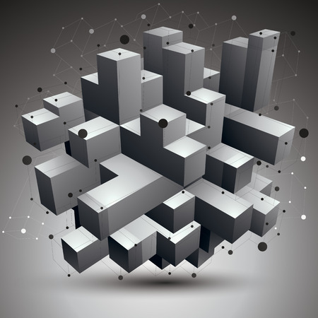 complicated: Vector complicated 3d figure, modern digital technology style form. Abstract unusual background.