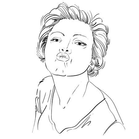 labios sensuales: Imagen a mano art�stico, retrato en blanco y negro de la delicada ni�a tierna elegante que da un beso. Emociones ilustraci�n tema, idea rom�ntica.
