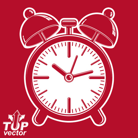 clang: Vector 3d alarm clock with two symmetric bells, wake up conceptual icon. Graphic design element – get up theme. Red retro timer with clang bells, inverse.