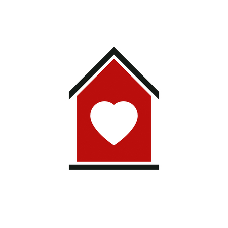 idealistic: Family house abstract vector icon, harmony at home concept. Simple building, real estate business, architecture theme symbol for use in graphic design.