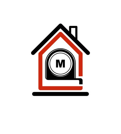 architectural design: Architectural design conceptual vector symbol, simple house icon with tape measure. Design construction graphic element, building project or draft, engineer equipment. Illustration