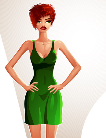 fullbody: Full-length portrait of a gorgeous red-haired sexy lady wearing a bright summer dress, colorful drawing. Vector illustration of a stylish Caucasian lady holding her hands on a waist.