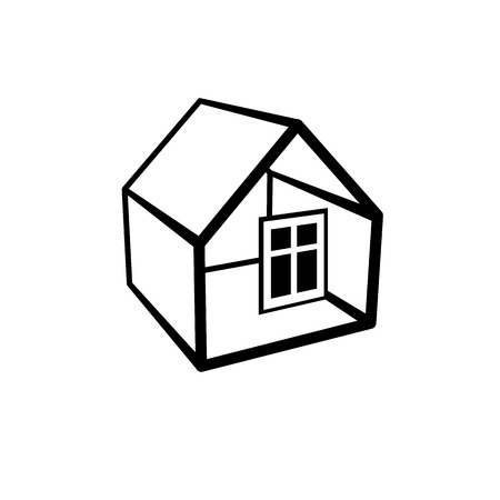 urban planning: Property developer conceptual business icon. Building modeling and engineering projects abstract symbol. Simple vector house.