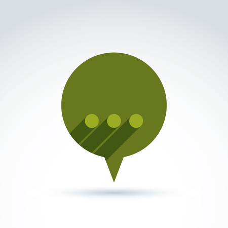 analyze: Ellipsis punctuation, analyze and conversation symbol, text message concept. Vector green speech bubble with dots.