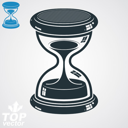 interim: Retro dimensional vector sand-glass illustration, simple additional version. Old-fashioned decorative 3d hourglass. Vintage clock with water drops. Time is running out conceptual icon.