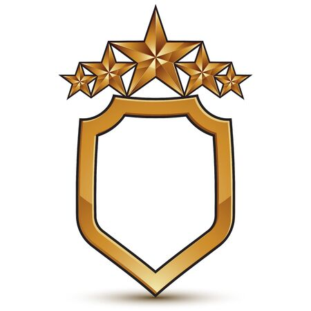 aurum: Vector stylized festive symbol isolated on white background.  Glamorous golden star, clear EPS 8, five stars insignia.