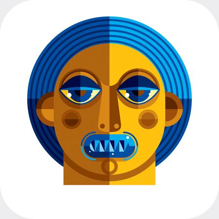 cubismo: Dibujo Diseño plano de una imagen persona cara, arte hecho en el estilo del cubismo. Vector colorido ilustración de carácter bizarro.