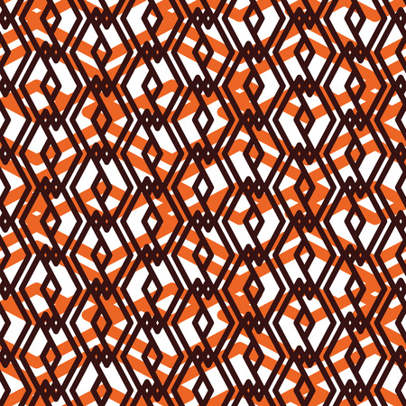 visual effect: Orange overlay abstract seamless pattern with interweave lines. Vector ornament wallpaper. Endless decorative background, visual effect geometric tracery with rhombs. Illustration