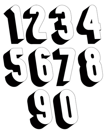 math set: 3d black and white numbers, stylish simple shaped numerals for design.