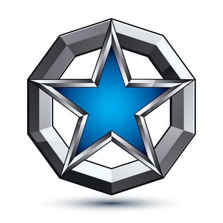eps8: Branded silvery rounded geometric symbol, stylized pentagonal blue star placed in a silver ring, best for use in web and graphic design. Polished vector icon isolated on white background, eps8. Illustration
