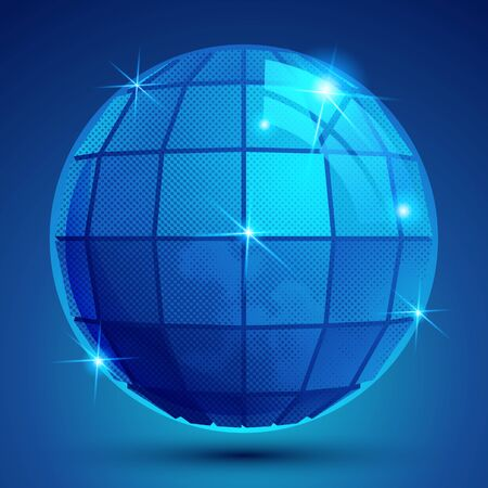 glisten: Grained plastic navy flash globe, geometric glisten eps10 figure.