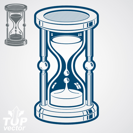 interim: Eps8 high quality dimensional vector sand-glass illustration, additional version included. Antique decorative liquid 3d hourglass. Vintage clock with pour sand. Time conceptual stylized icon. Illustration