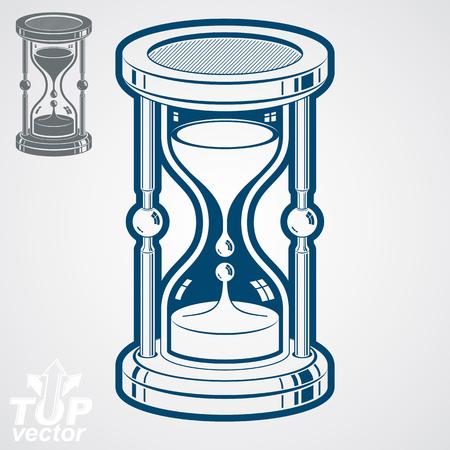 reloj de arena: Eps8 ilustración de alta calidad de vidrio de reloj dimensional vector, versión adicional incluido. Antiguo del reloj de arena 3d líquido decorativo. Reloj de la vendimia con verter arena. Tiempo conceptual icono estilizada.