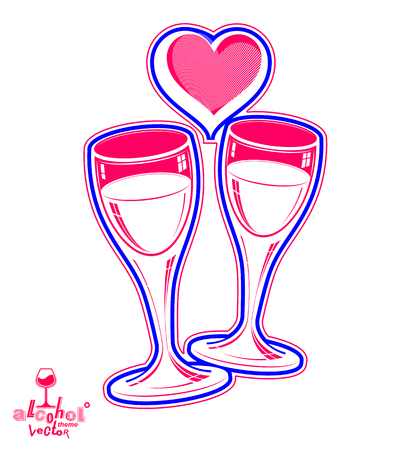 wineglasses: Two wineglasses vector artistic illustration – wedding couple conceptual graphic object. Celebration theme – stylized goblet with loving hearts and beautiful ribbon. Illustration