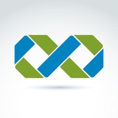 icône vecteur infini isolé sur fond blanc, illustration d'un symbole de l'éternité complexe lumineux, géométrique signe perpétuité abstraite. Vecteurs