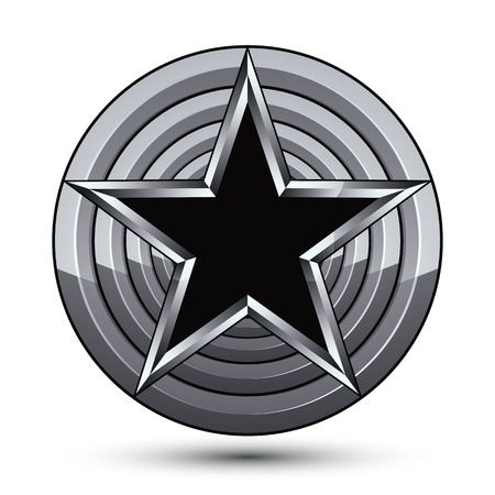 Sophisticated design geometric symbol, stylized pentagonal black star placed on a round silver surface, best for use in web and graphic design. Polished 3d vector icon isolated on white background. Clear eps8.