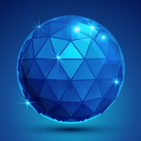radiance: Dotted radiance plastic contemporary spherical object with flashes, pixilated sparkle blue globe.