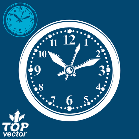 clockwise: Simple vector wall clock with stylized white clockwise, invert version included. Business time idea classic graphic symbol. Web design element isolated on dark background. Illustration
