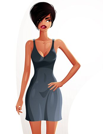 mulatto: Full body portrait of a gorgeous brunette sexy lady wearing a bright summer dress, colorful drawing. Vector illustration of a stylish mulatto lady holding one hand on a waist. Illustration