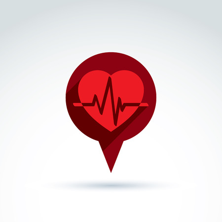 heartbeat line: Heartbeat line, red medical cardiology icon. Vector illustration of a red heart with an ecg placed in a speech bubble. Conceptual love symbol. Chat on a relationship theme.