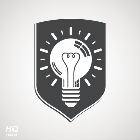 shield: Protection shield with electricity light bulb symbol. Vector brain storm conceptual icon - corporate problem solution theme. Business idea design element. Graphic web insight emblem. Illustration