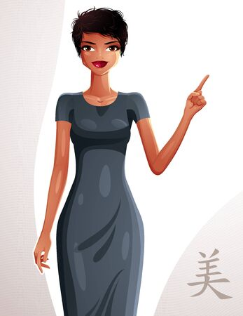 full body woman: Beautiful coquette lady illustration, full body portrait of a sexy slim brunette pointing at something to side with her finger. People expression of a young pretty woman.
