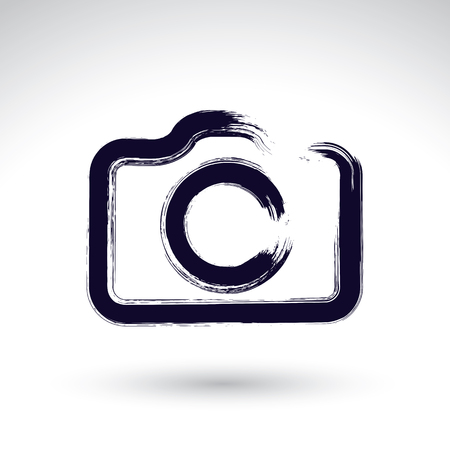 digital camera: Realistic ink hand drawn vector digital camera icon, simple hand-painted camera symbol, isolated on white background. Illustration