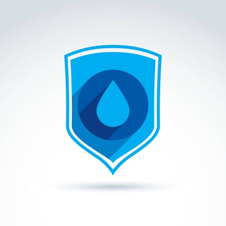 defending: Clear water defending conceptual symbol, vector icon with shield and water drop.