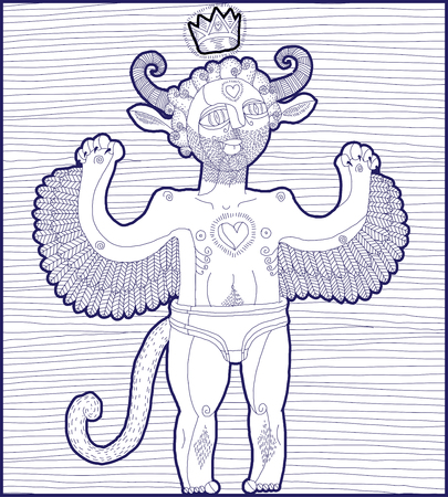 artistic nude: Vector hand drawn graphic lined illustration of weird creature, cartoon nude man with wings and royal crown, animal side of human being. Prince or king artistic allegory drawing.