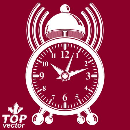 clang: Elegant alarm clock vector 3d illustration with podcast sign. Classic wake up conceptual icon, invert version. Waiter ringing symbol. Illustration