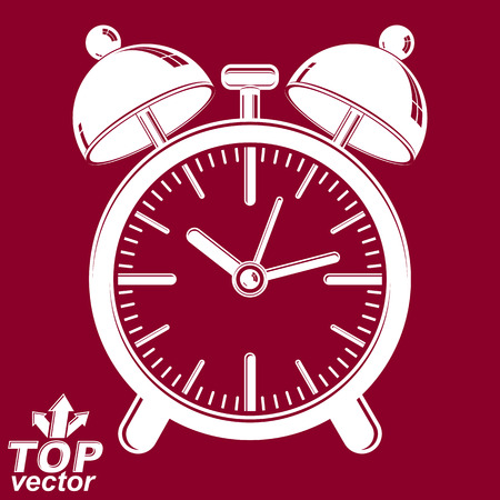 interim: Vector 3d alarm clock with two symmetric bells, wake up conceptual icon. Graphic design element – get up theme. Red retro timer with clang bells, invert version. Illustration