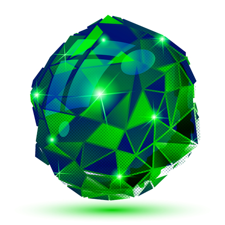 Plastic pixel dimensional object, emerald dotted geometric isolated element.