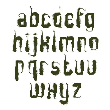 single color: Vector alphabet letters set, hand-drawn monochrome script, single color brushed small letters.