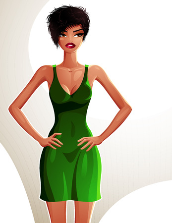 fullbody: Full-length portrait of a gorgeous brunette sexy lady wearing a bright summer dress, colorful drawing. Vector illustration of a stylish mulatto lady holding her hands on a waist.