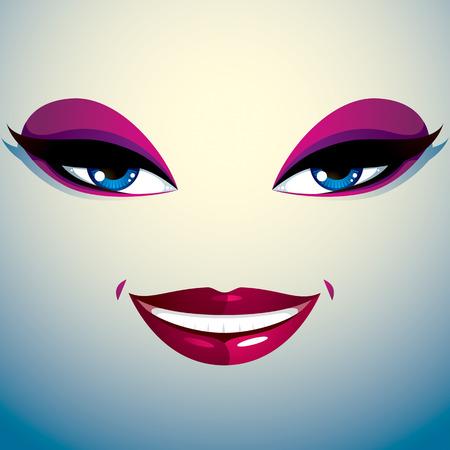 Facial expression of a young pretty woman. Coquette lady visage, human eyes and lips. Illustration