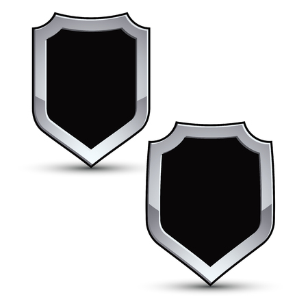 two dimensional: Set of heraldic vector black emblem with silver outline, two 3d conceptual defense geometric badges isolated on white background. Eps8 silver blazons isolated on white background. Dimensional decorative coat of arms.