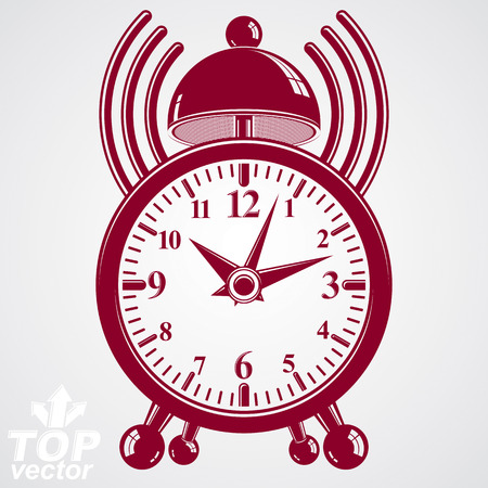 clang: Elegant alarm clock 3d illustration with podcast sign, classic wake up conceptual icon. Graphic retro dimensional clock with clang bell %u2013 waiter ringing symbol. Illustration