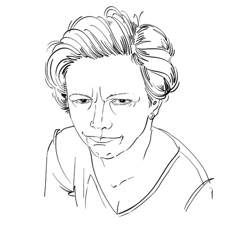 rigorous: Art drawing, portrait of angry girl isolated on white. Facial expressions, people negative emotions.