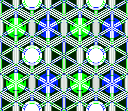 illusory: Regular colorful endless pattern with intertwine three-dimensional figures, continuous illusory geometric background, clear EPS10.