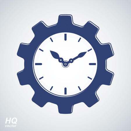 hour hand: Vector retro cog wheel and clock with an hour hand, business organizer symbol. Production process planning conceptual icon. Industry and engineering design element – gear.