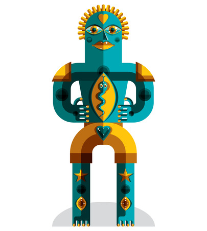 idol: Avant-garde avatar, colorful drawing created in cubism style. Modernistic geometric portrait, vector illustration of idol. Illustration